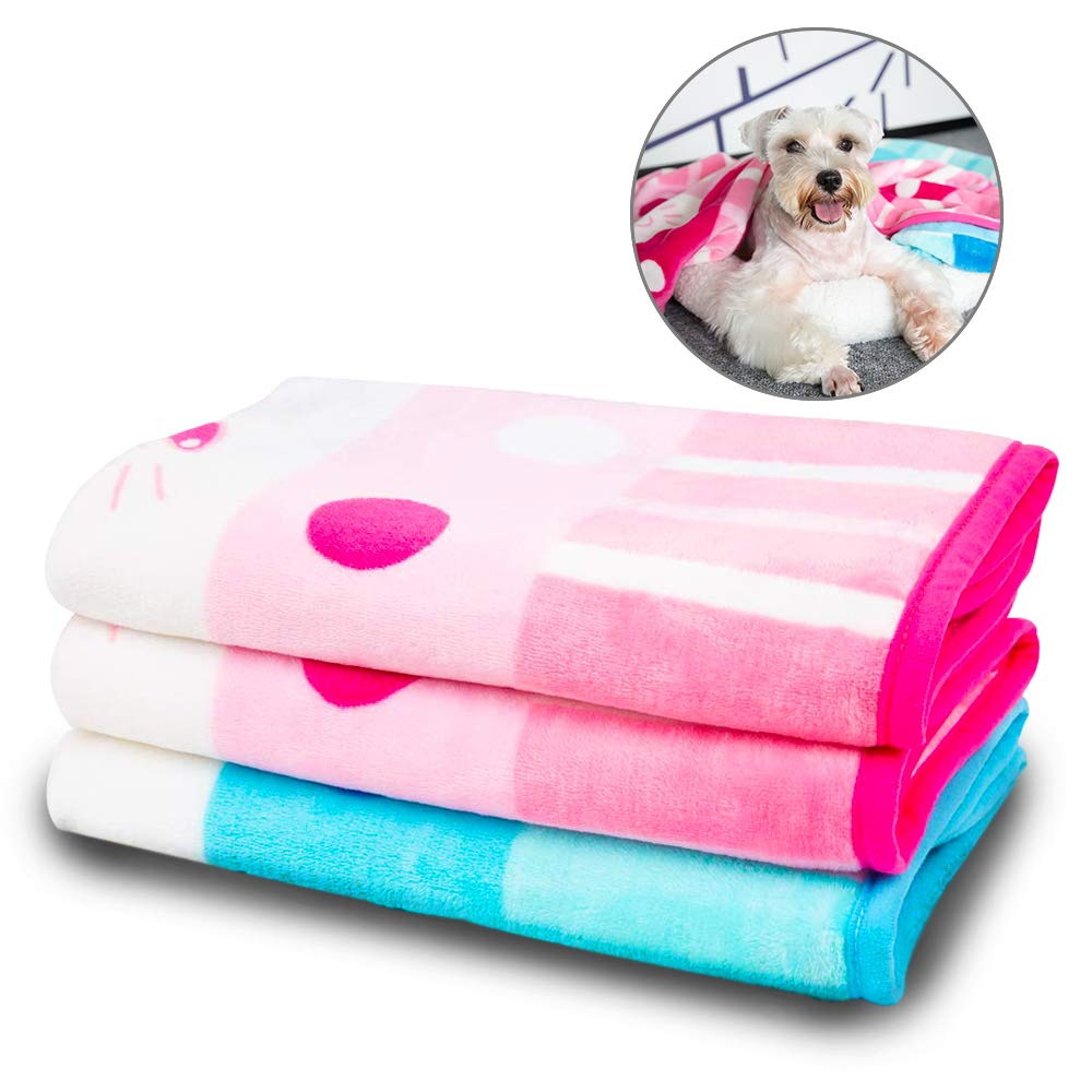 Double Allisandro Super Soft Fluffy Premium Flannel Fleece Dog Throw Blanket,Appealing Cute Paw Prints Equally Puppy Cat