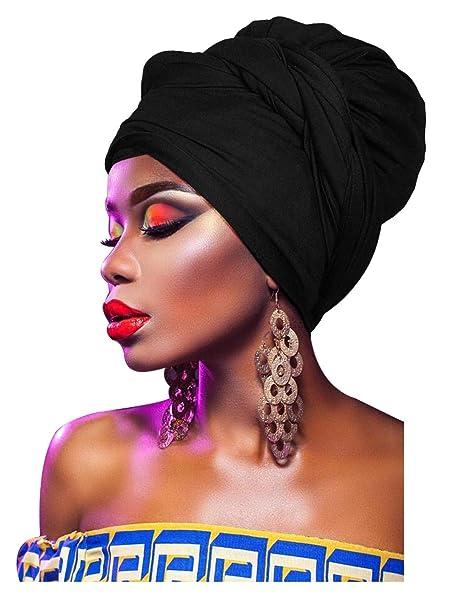 L VOW Women  Soft Stretch Headband Long Head Wrap Scarf Turban Tie (Black 944372802a9