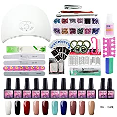 Feature Professional set for nail treatments.  Great for enhance shine and protect your nail.  Package list 1*36W USB LED Lamp 10*Nail Gels 1*COS Top Coat 1*COS Primer 4*Nail Files 1*Nail Buffer 1*Cuticle Fork 1*Cuticle Pusher 1*Nail Clippers...