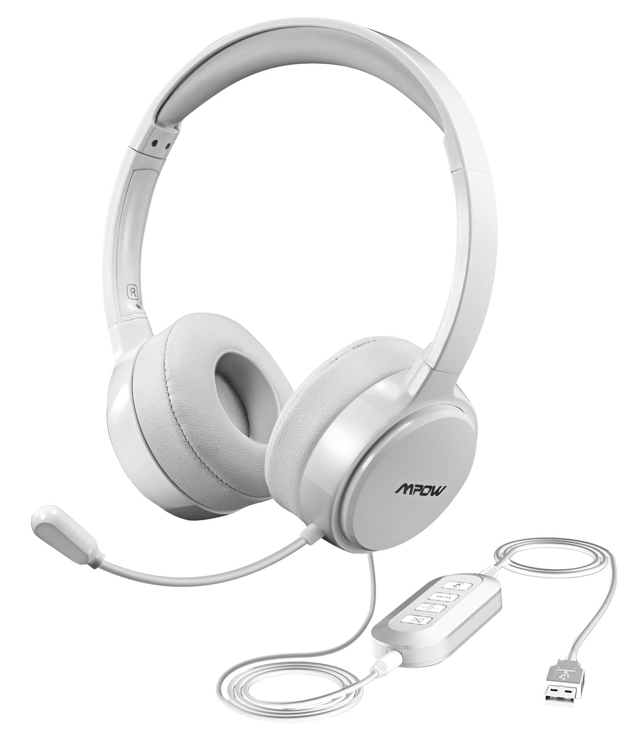 Mpow Upgraded USB Headset with 3.5mm Jack, Lightweight Computer Headset with Noise Cancelling Microphone, Comfy Earmuffs, Wired Headphones for PC, Skype, Phone PAMPPA071AB-USAS7