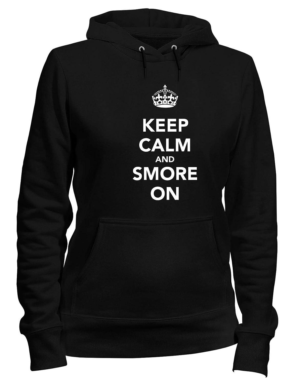 Speed Shirt Felpa Donna Cappuccio Nero TKC0598 Keep Calm And SMORE ON