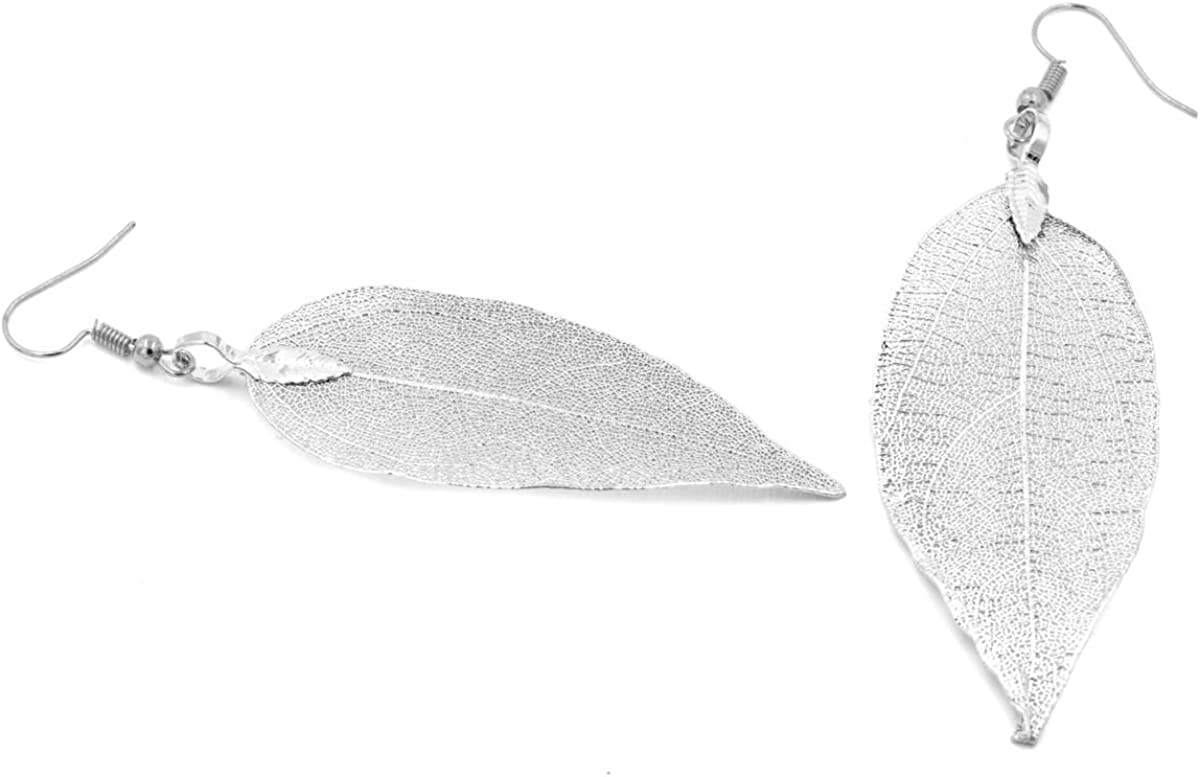 925 Hollow Leaf//Feather Drop Dangle Hook Earrings Silver Plated Gift Bag UK