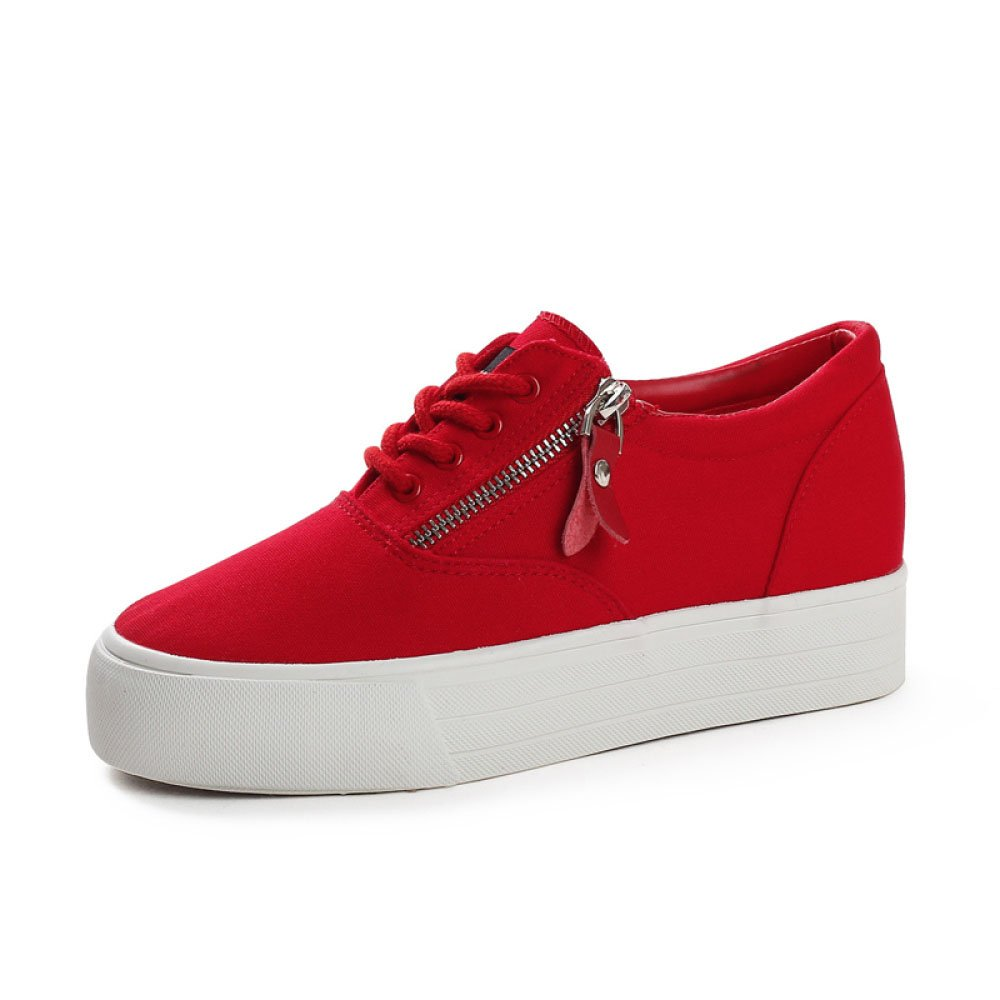 Koyi red Femmes Toile Chaussures Nouveaux Étudiants Taille Sneakers Interne B071HXSLTF Petit Blanc Chaussures Dentelle Chaussures Espadrilles Sneakers red 747135b - boatplans.space