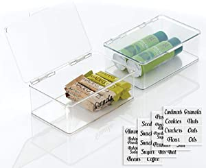 mDesign Plastic Stackable Kitchen Pantry Cabinet/Refrigerator Food Storage Container Box, Hinged Lid - Organizer for Coffee, Tea, Packets, Snack Bars - Pack of 2, Includes 32 Labels - Clear
