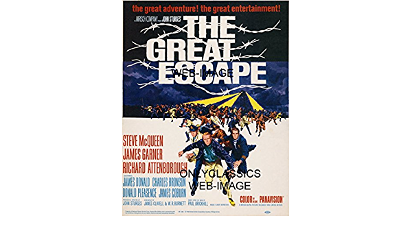 Steve McQueen The Great Escape 1963 Art Canvas Movie Poster Print Film King cool