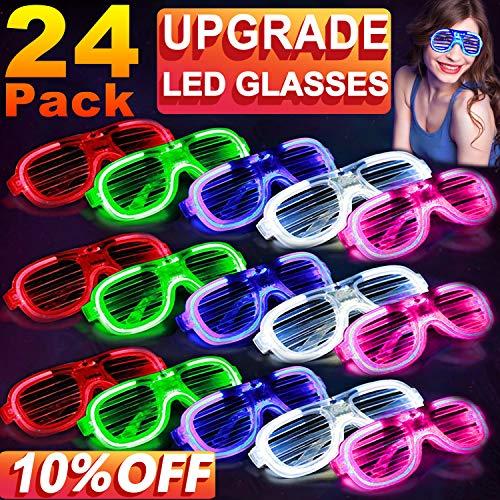 24 Bulk LED Light Up Glasses, EL Neon