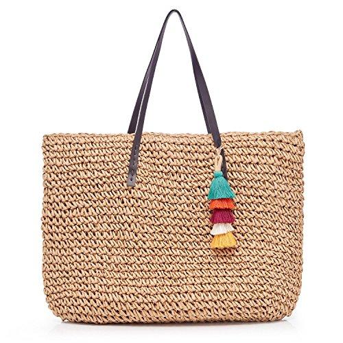 Womens Classic Straw Handbag Summer Beach Sea Holiday Woven Shoulder Bags Top Handle Tote Purse with Zipper Closure Liner For Shopping Travel Daily Use + Free colorful tassel key chain