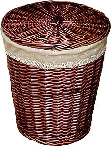 NYKK Bread Baskets Wicker Storage Basket Clothing Organizer Rattan Hamper Basket Bathroom Storage Basket with Lid Tabletop Food Serving Basket (Color : Brown-B, Size : M)