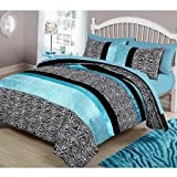 Your Zone Zebra Bedding Comforter Set, Twin, Teal
