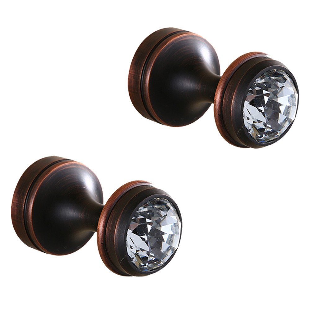 BigBig Home Crystal Decorative Wall Hooks Towel Hook,Oil Rubbed Bronze Finish Brass Coat Hook Hangers Wall Mounted.(Black, Pack of 2)