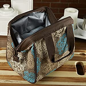 Fit & Fresh Charlotte Insulated Lunch Bag for Women Girls with Ice Pack, Ideal for Work School, Zips Closed, Teal Brown Floral