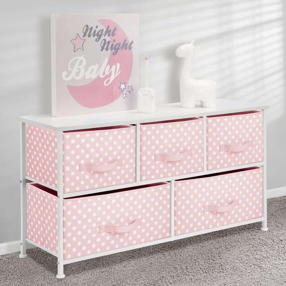 mDesign Com/ò in tessuto a 5 cassetti rosa//bianco ingresso Cassettiera in tessuto per cameretta Mobiletto con cassetti in stoffa per camera da letto ecc