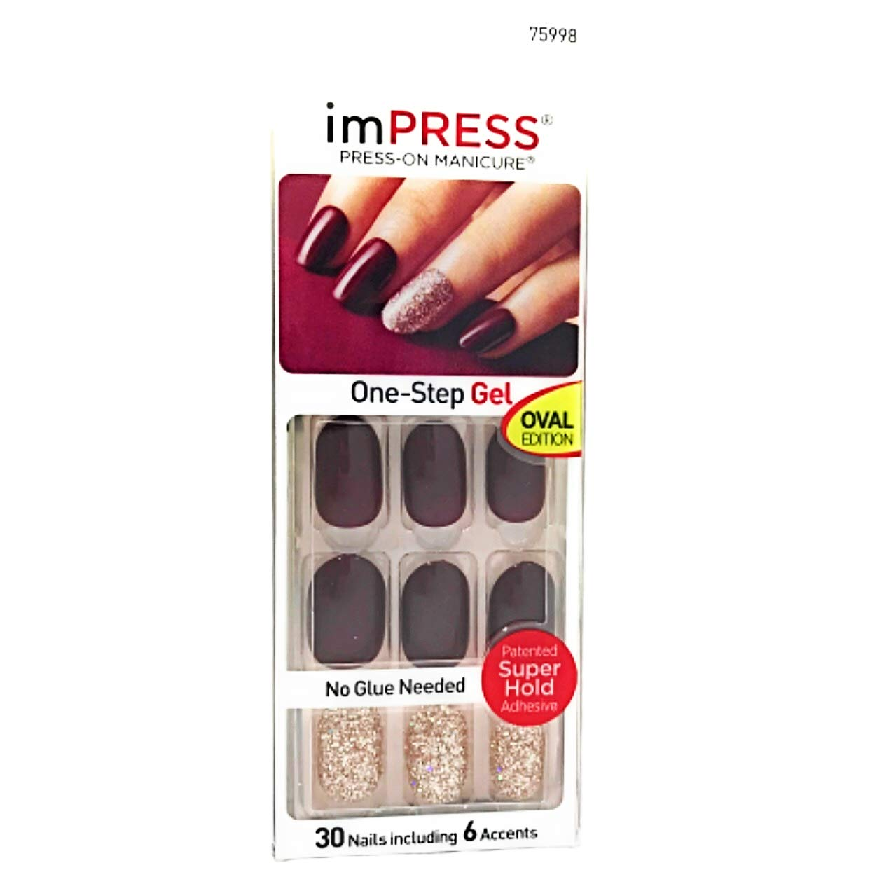 Kiss ImPress Press On Short Length Gel Nails Oval Edition # 75998 Symphony by BROADWAY NAILS