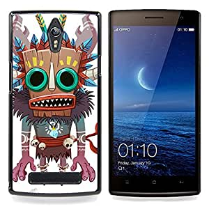 Ihec Tech Monster Bruja Nativo Voodoo Doll cráneo / Funda Case back Cover guard / for OPPO Find 7 X9077 X9007