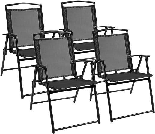 Amazon.com: Devoko - Juego de 4 sillas plegables para patio ...