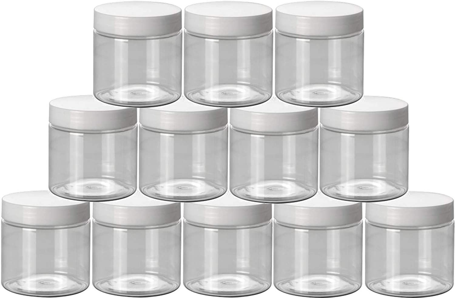 Plastic jars with lids, 12 pack refillable plastic containers, slime jars beauty products cream, scrubs, storage containers (2 Ounce)