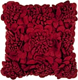 Surya FA-084 Hand Crafted 100% Wool Maroon 22'' x 22'' Textural Decorative Pillow