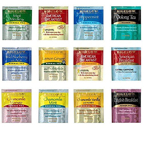 Geenbow Bigelow Tea Sampler 32 Classic Flavor Assortment Tea Bags in Foil with Rich Flavor Variations and Gift Box