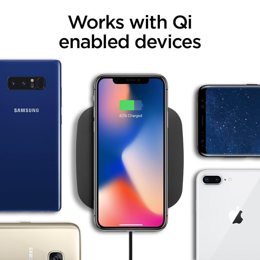Blanc Slim Certifi/é Qi 10W Intelligent Power Technology Spigen Essential F301W Chargeur Rapide sans Fil, Compatible avec T/él/éphone Chargement Qi Galaxy et Plus iPhone