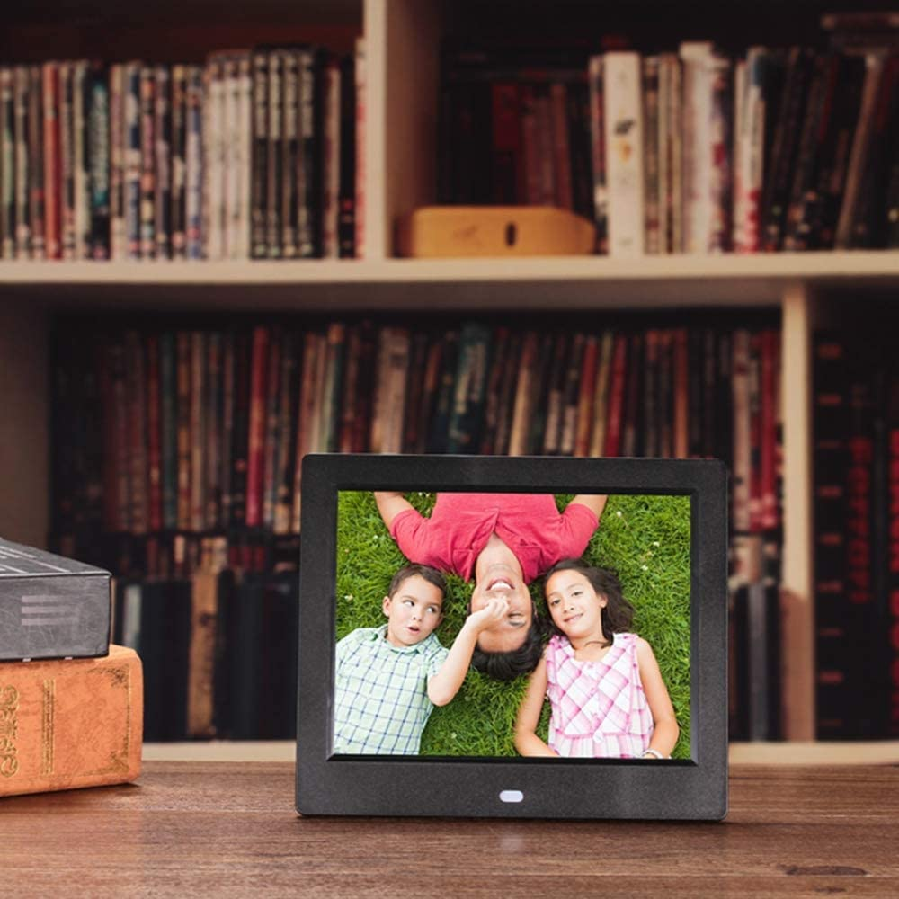 LoMe Digital Photo Frames MP3 Music Supports Multiple File Formats and External USB SD Memory,Black 1080P 8 Inch 1024/×768 HD Picture Video Electronic Photo Frame