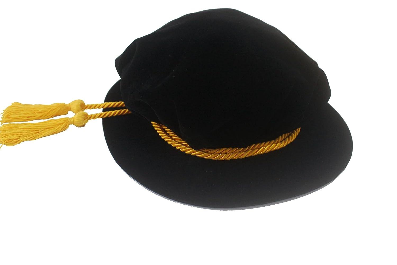 Black Velvet Tudor Beefeater Style Gold Tassel Bonnet - DeluxeAdultCostumes.com