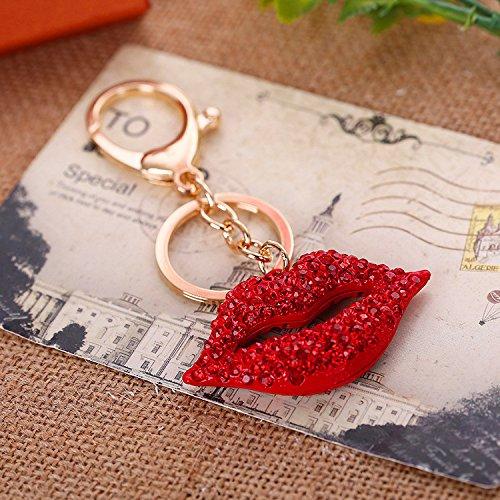 JewelBeauty Red Rhinestone Big Kiss Lips Keychain Bling Key Chain Women Purse Charm Bling Crystal Key Ring Bag Charm Jewelry Red Diamond Keyring (Gold Keyring)]()