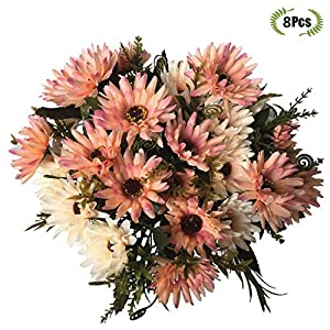 LoveniMen Artificial Chrysanthemum Flowers, Real Touch Silk Daisy Plastic Plants Home Decorations for Bridal Wedding Bouquet, Birthday Flowers Bunch Hotel Party Garden Floral Décor 34