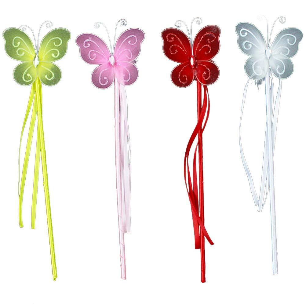 Toyvian Baguette Magique féerique Papillon Baguette Princesse Baguettes avec des Rubans pour Enfants Filles Jeu de rôle Costume - 12pcs