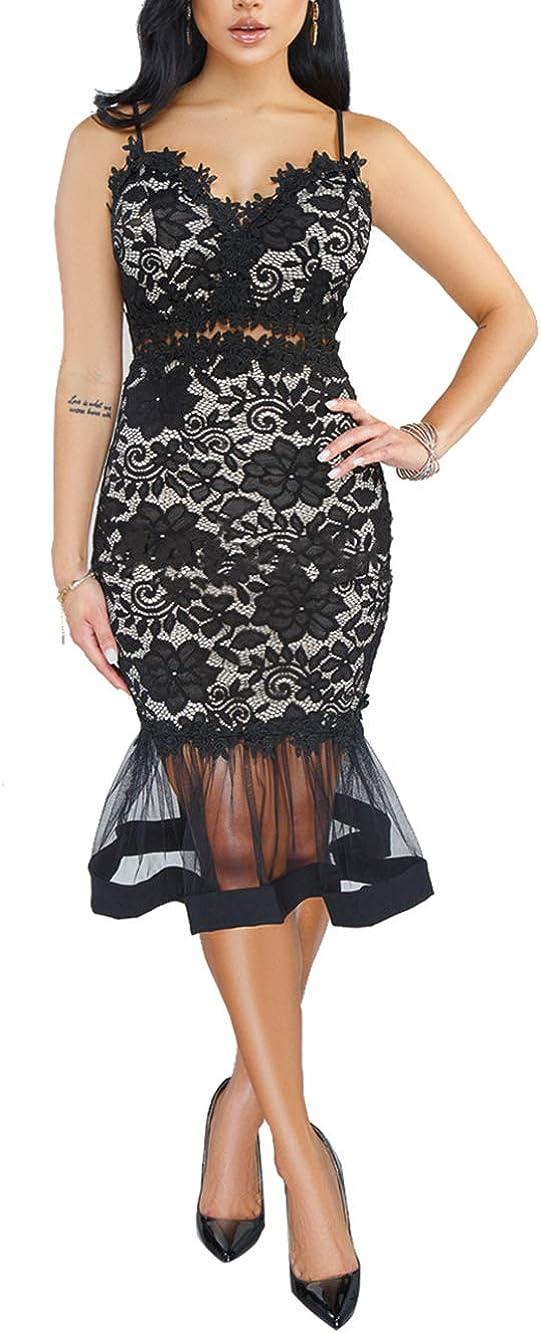 Salimdy Women's Sexy V Neck Sleeveless Lace Dress Elegant Vintage Cocktail Party Mermaid Midi Dress