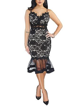 2de26158b6 Salimdy Womens Elegant Vintage Cocktail Party Mermaid Midi Mid-Calf Dress  Black S