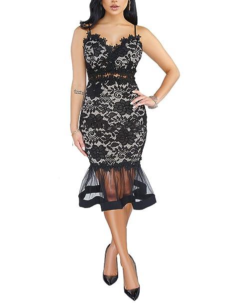 Amazon.com: Salimdy vestido de encaje sin mangas con cuello ...