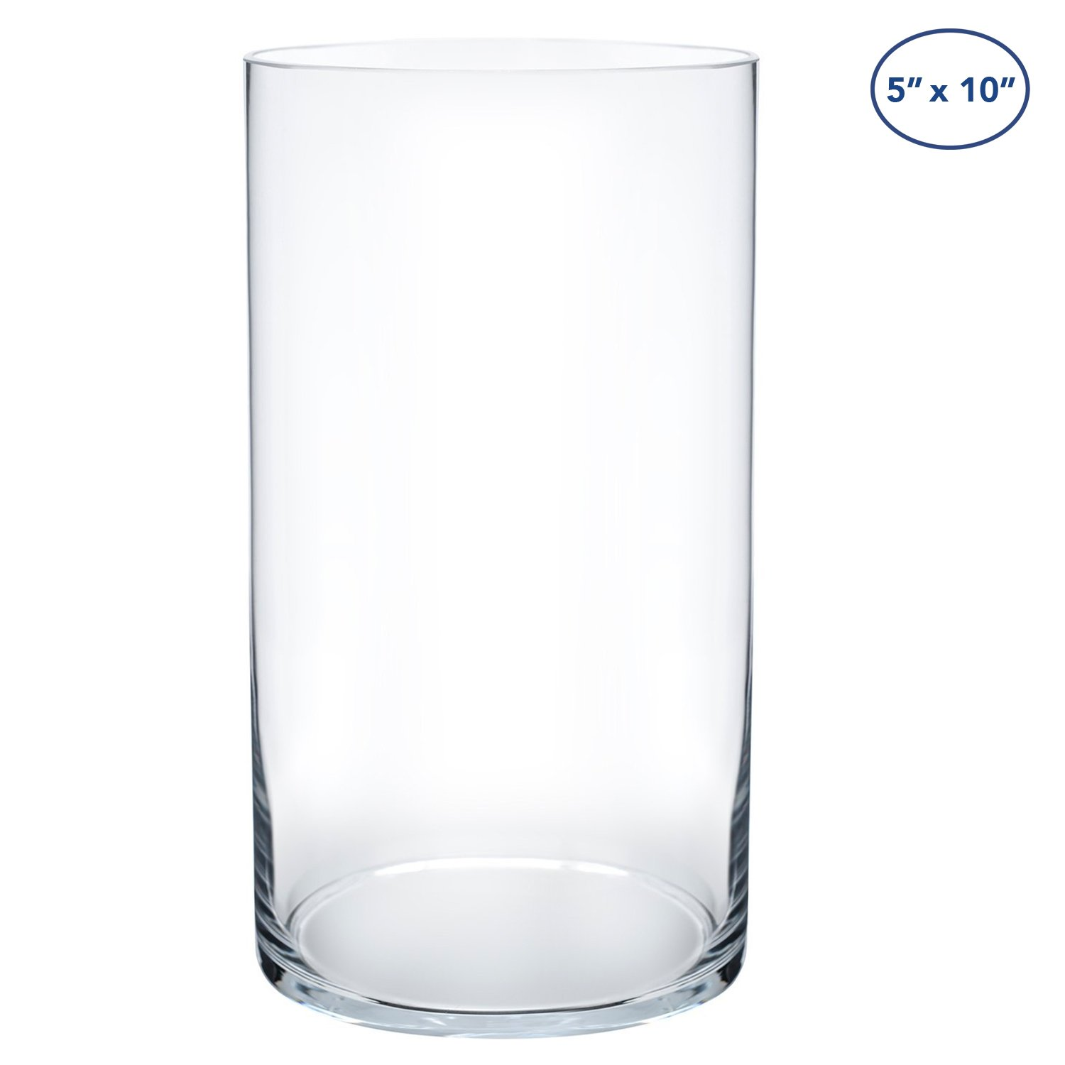 Royal Imports Flower Glass Vase Decorative Centerpiece For Home or Wedding by Cylinder Shape, 10'' Tall, 5'' Opening, Clear