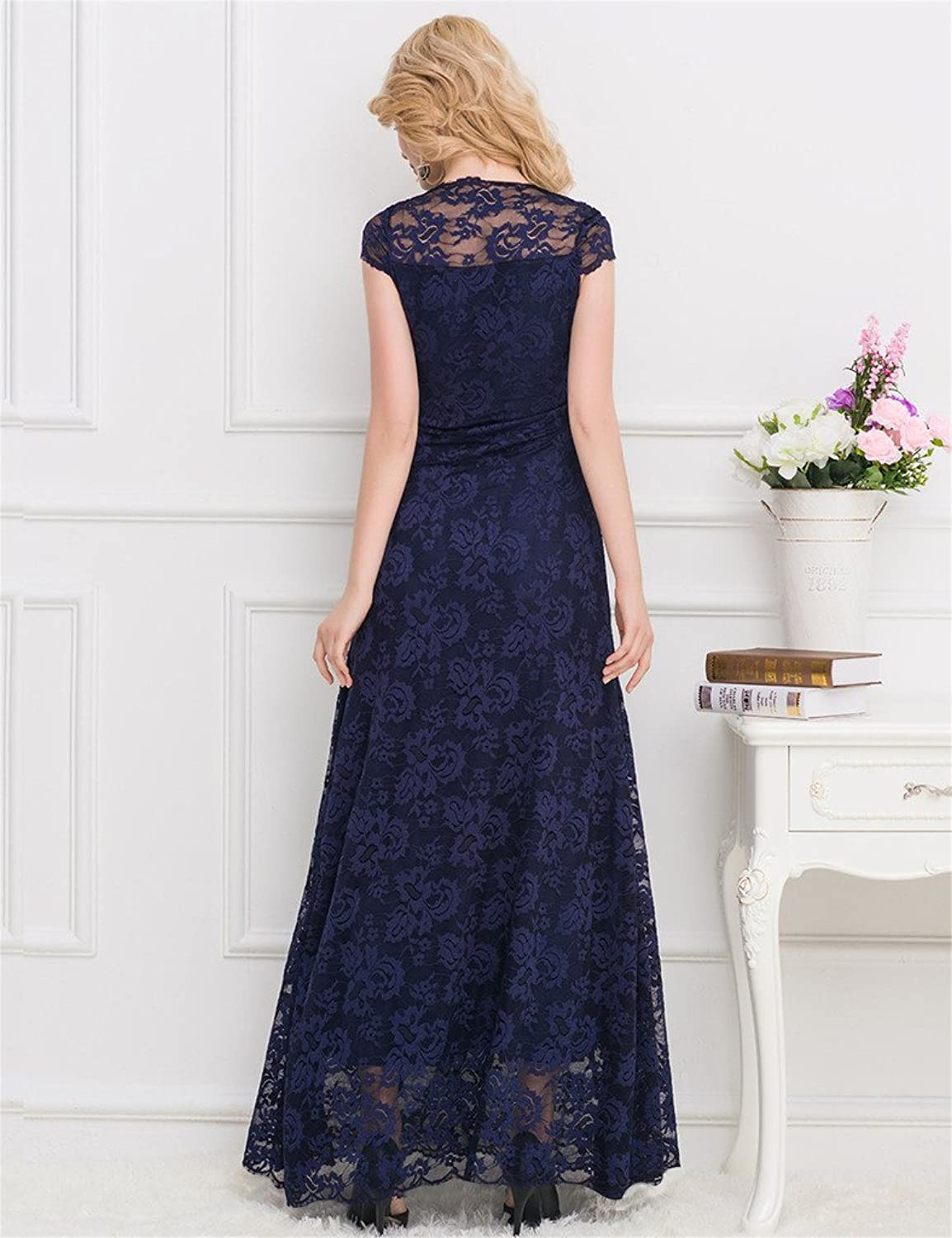 ohyeah Women Floral Lace Long Dress V-neck Solid Maxi Dress Elegant Party Gown at Amazon Womens Clothing store: