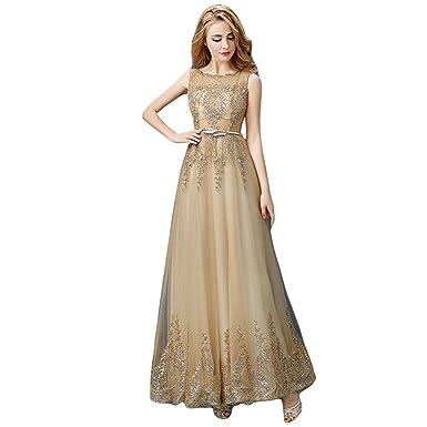 BessWedding Long Skirt Sleeveless Tulle Evening Dress Prom for Girls, Gold S2
