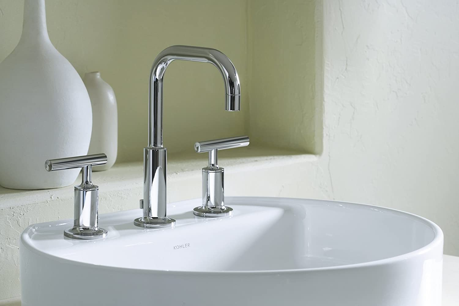 KOHLER KCP Purist Widespread Lavatory Faucet Polished - Kohler bathroom vanity faucets