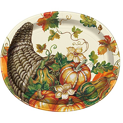 Unique Fall Harvest Pumpkin Oval Extra Large Party Plates, 8 Ct.