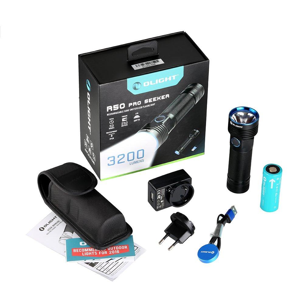 OLIGHT® R50 Pro Seeker Taschenlampe max. 3200 Lumen mit Cree XHP70 CW LED - aufladbar über Magnet USB Ladeadapter