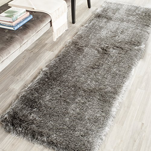 Casual Elegance Collection (Safavieh Paris Shag Collection SG511-7575 Silver Polyester Runner (2'3