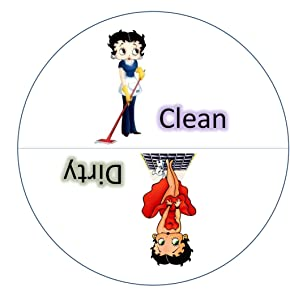 The Original BETTY BOOP Clean-Dirty Dishwasher Magnet. Adheres to ANY Surface! A Fun Way to Stop Those Frustrating Dishwasher Mistakes! 100% Handmade in the USA. White.