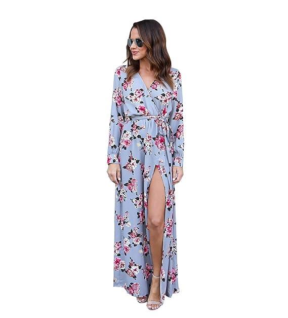 81887d2fab6c8 Niseng Vestito Lungo Elegante Donna Cerimonia Abito Maniche Lunga Vestiti  Stampa Floreale Scollo V Casual Mode Abiti Spiaggia Sera Cocktail Maxi  Dress  ...