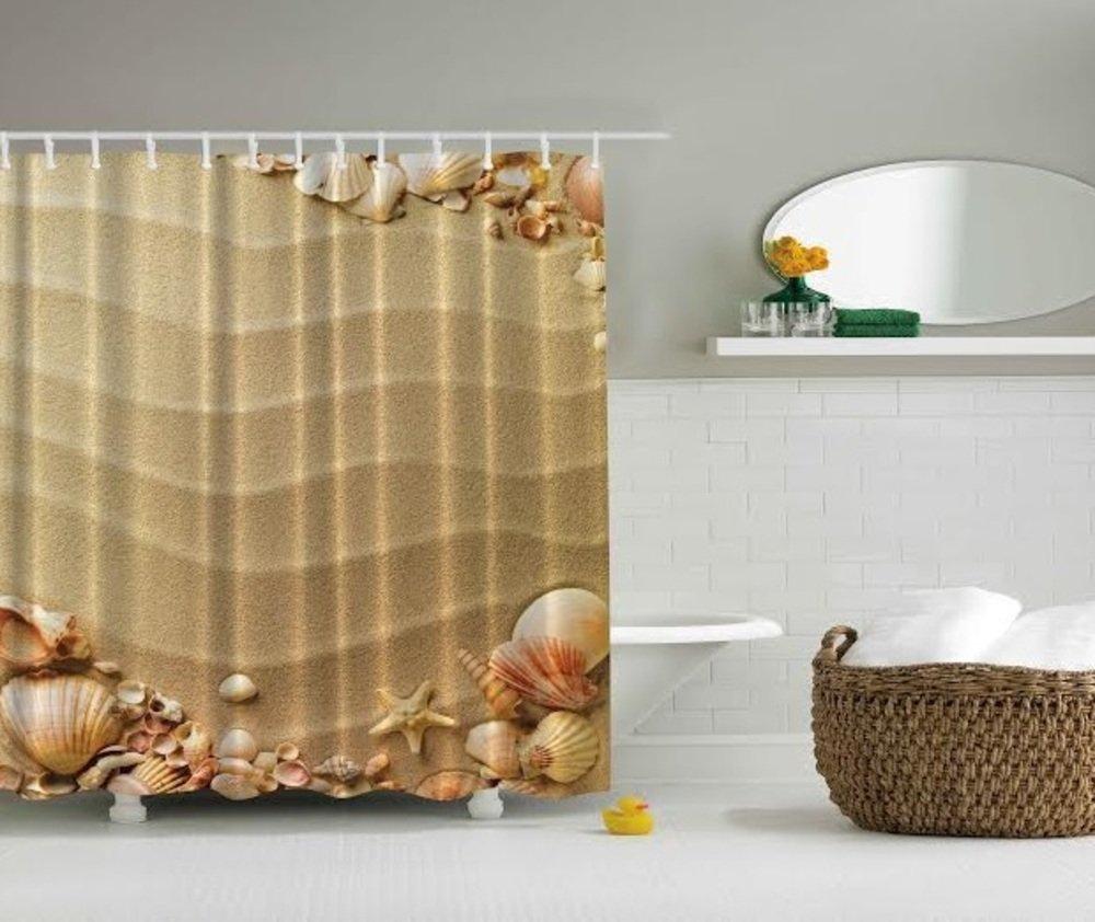 Ocean themed shower curtains - Amazon Com Sand Sea Shells Starfish Beach Digital Graphic Print Shower Curtain Set Non Vinyl Bath Tub Liner Waterproof Fabric Mildew Resistant Material
