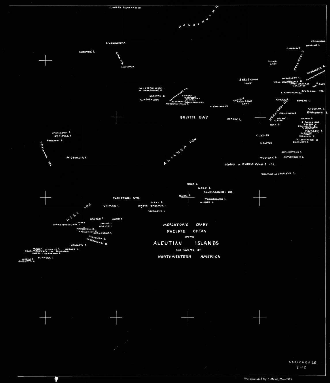 Vintography NOAA Blueprint Style 18 x 24 Nautical Chart SARICHEF 3 Sheet 2 of 2 - MERCATORS Chart Pacific Ocean with ALEUTIAN Islands and Parts of Northwestern America L. Heck 54a