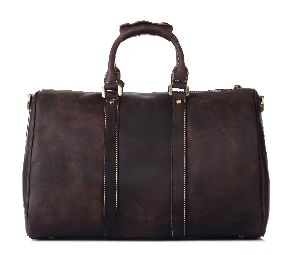 Real Leather Brown Holdall Travel Duffle Overnight Weekend Sports Gym Cabin Bag Boston