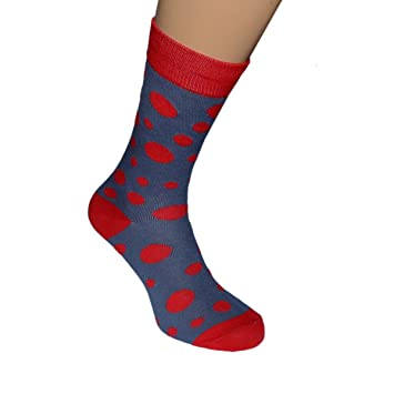 Calcetines de boda para hombre, rojo brillante de lunares Tallas para adulto: 5 a la 12 (Reino Unido) 38 a la 46 (Europa).: Amazon.es: Jardín