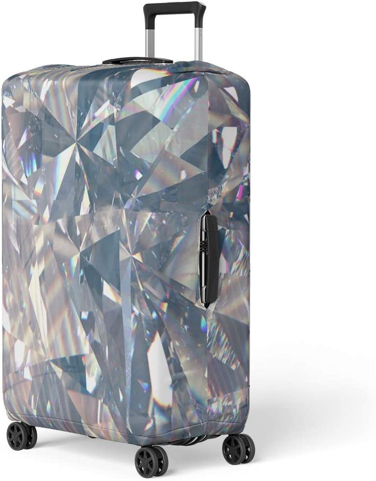 Pinbeam Luggage Cover Colorful Layered Triangular Diamond Crystal Shapes 3D Rendering Travel Suitcase Cover Protector Baggage Case Fits 26-28 inches