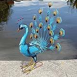Exotic Blue Peacock Bird Decorative Garden Sculpture Statue Ornament Large 59cm
