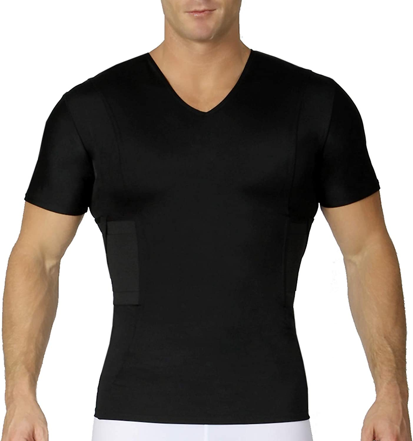ISPRO TACTICAL Concealment Compression V-Neck Shirt w/Built-in Holster for Daily Training Home Defense MGV017
