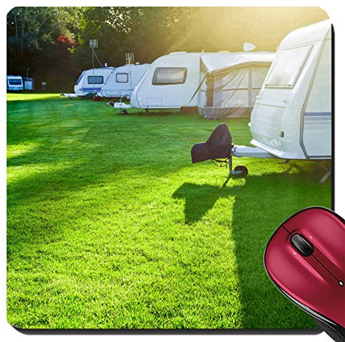 Liili Suqare Mousepad 8x8 Inch Mouse Pads/Mat Travel trailer camping in a morning light Image ID 21616449