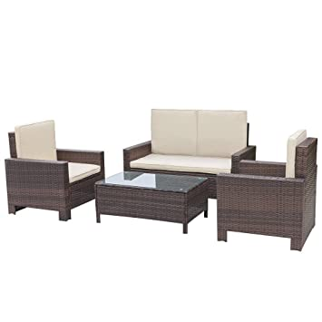 Homall 4 PC Wicker Outdoor Patio Furniture Set Rattan Sofa,Outdoor/Indoor  Use For Part 41