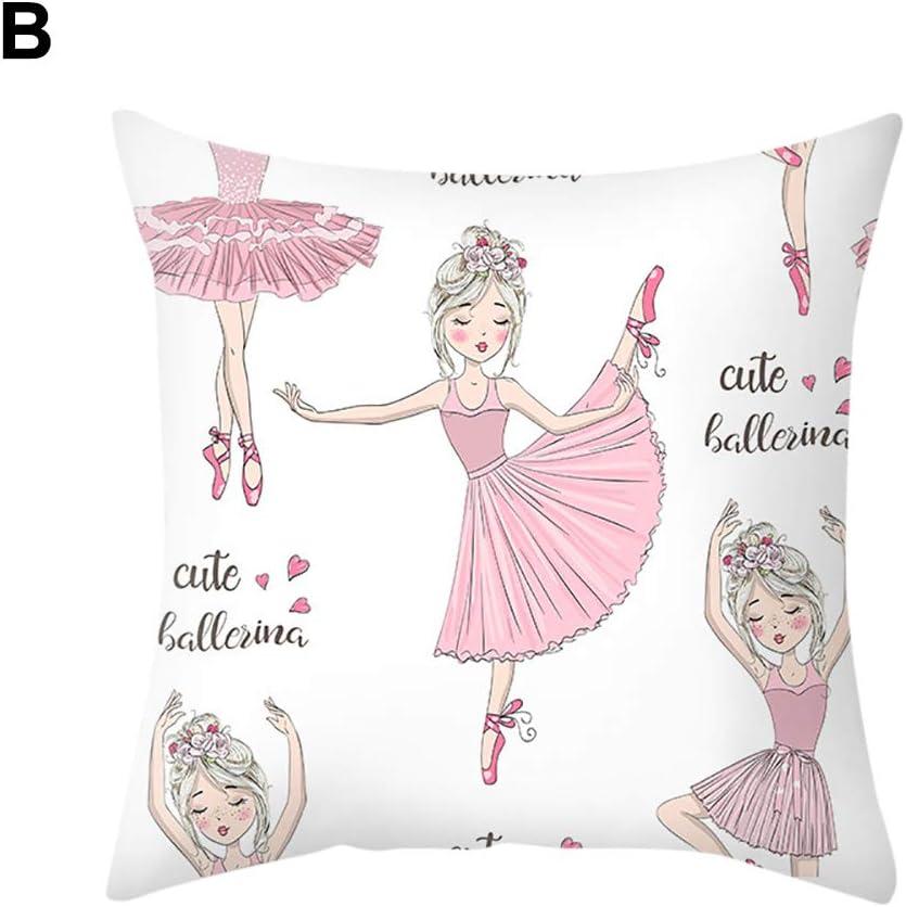 dragonaur Pillow Cases,Sophisticated Comfortable Ballet Dancing Girl Linen Pillow Case Cushion Cover Sofa Bed Car Office Decor for Home Decor I